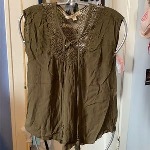 Rewind Army Olive Green Lacey Blouse with Tassels